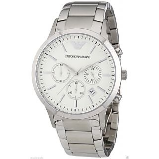 Armani AR2458 White Dial Analog & Chronograph Watch For Men In Silver Strap