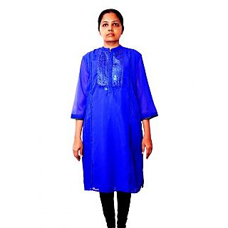 Ladies Kurtis with Royal blue color with Heavy embroidery work with Pintex work