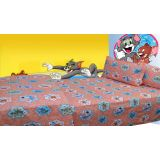 100% Cotton Tom And Jerry Print Single Bed Sheet (peach)