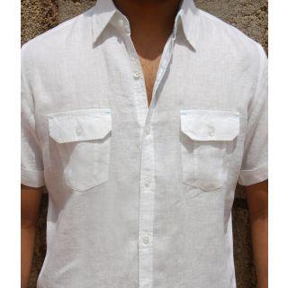 Classic White Linen Short Sleeve Shirt