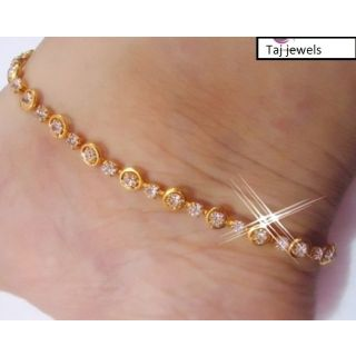 Taj Jewels Gold Plated Gold Gold Foil Anklets For Women