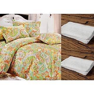 Valtellina Set Of 1 Bed Sheet & 2 Hand Towel (Combo-5_LID-009_HTW-002)