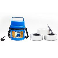 Power Plus Electric Microweavable 3 Containers Hot Lunch Box - H06Bl