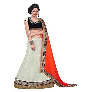 Florence White Net Embrodried Bridal Lehenga