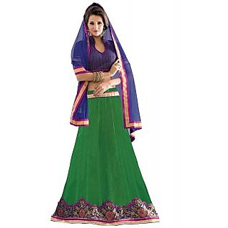 Florence Green Net Embrodried Lehenga