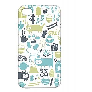 Pickpattern Back Cover For Apple Iphone 4/4S BLUEDOODLEI4-86