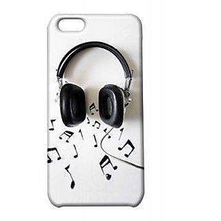 Pickpattern Back Cover For Apple Iphone 5C HEADPHONESBLACKI5C-1908