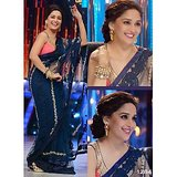 Indian bollywood designer Madhuri Nevy Blue Saree