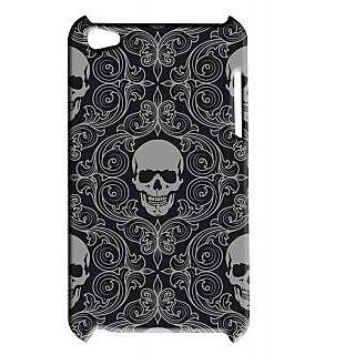 Pickpattern Back Cover For Apple Ipod Touch 4 SKULLBLACKIT4-5360