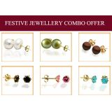 Exxotic Festive Gold Plated Sterling Silver Stud Earrings Combo With Freshwater Pearl And American Diamond