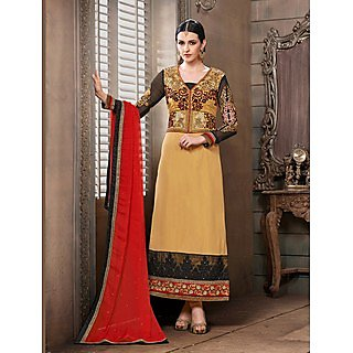 Thankar New Attractive Designer Straight Cream Anarkali Suit