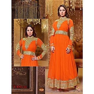 Thankar New Attractive Designer Georgette Orange Anarkali Suit