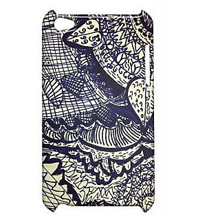 Pickpattern Back Cover For Apple Ipod Touch 4 DARKBLUELEAFIT4-4455
