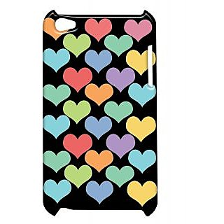 Pickpattern Back Cover For Apple Ipod Touch 4 MULTIPLEHEARTSCOLOURSIT4-5170