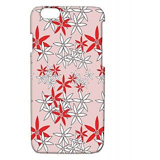 Pickpattern Back Cover For Apple Iphone 6 RED&WHITEFLOWERI6-3411
