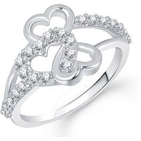 MEENAZ EXCLUSIVE 2 HEART VALENTINE WHITE PLATED CZ RING FR220