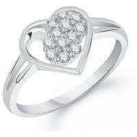MEENAZ LAVISH HEART WHITE PLATED CZ RING FR221