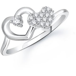 MEENAZ LOVE FIST WHITE PLATED CZ RING FR248
