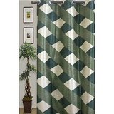 JBG Home Store Decorative Check Design Curtain(9 Ft)  -Green