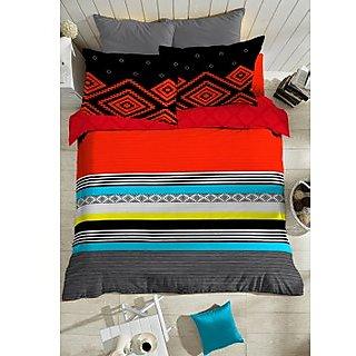 Multi Colour Color Me Bold Bedlinen (Bedsheet Set (King))