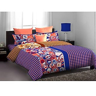 Blue & Pink Contemporary Designed Lorrian Bed Linen (Bedsheet Set (Single))