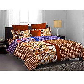 Chocolate Brown Contemporary Designed Lorrian Bedlinen (Bedsheet Set (Double))