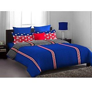 Blue Red Lorrian Bed Linen (Bedsheet Set (Double))