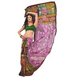 Bollywood Designer Weightless Georgette Saree With Elegant Border & Blouse Piece 4006B