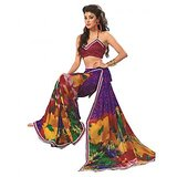 Bollywood Designer Weightless Georgette Saree With Elegant Border & Blouse Piece 4010A