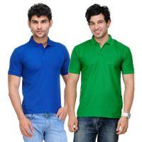 TSX Blue  Green T-Shirt For Men (Pack Of 2)