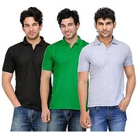 TSX Exquisite Cotton Blend Multi Color Polo T-Shirt Pack Of 3 (117)