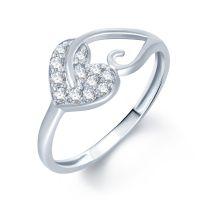 MEENAZ VALANTINE SWEET LOVE HEART GOLD & RHODIUM PLATED CZ RING FR172