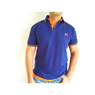 Mens Pique Polo Collared T Shirt Navy