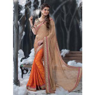 Swaron Beige  Orange coloured Crepe Jacquard Embroidered Saree 51S6529