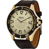 Stylox WH-STX124 White Analog Watch - For Men