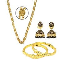 Combo Of Ginni Chain, Antique Jhumki With Lattoo Pair Of Bangle