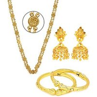 Goldnera Golden Gold Plated Combo Of Ginni Chain Jhumki And Lattoo Bangle For Women