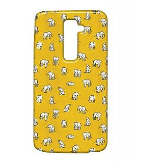 Pickpattern Back Cover For Lg G2 ELEPHANTYELLOWLGG2-15387
