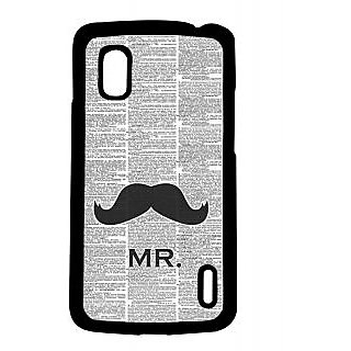 Pickpattern Back Cover For Lg Google Nexus 4 MUSTACHENEWSPAPERN4-17224
