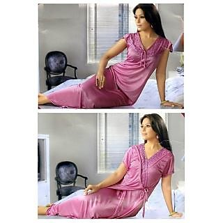 Womens Sexy 2pc Sleep Wear  Nighty  Over Coat 2095MX Pink Night Gown  Robe Set