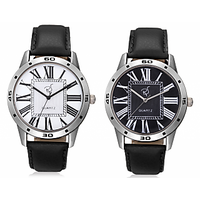 Rico Sordi Round Dial Black Leather Strap Mens Set Of 2 Watches
