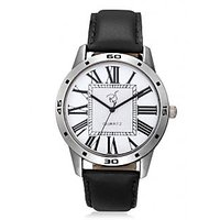 Rico Sordi Round Dial Black Leather Strap Mens Watch