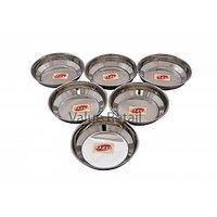 Hazel Steel Dishes / Plates - 6 Pcs Set - Large - B Halwa S13 Bowls