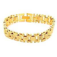 Goldnera Stylish Textured Gold Plated Men's Adjustable Bracelet
