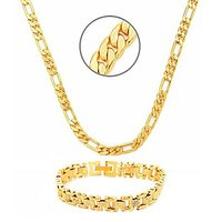 Goldnera Golden Gold Plated Combo Of Chain And Bracelet For Men