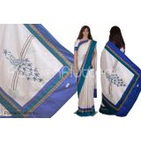 Raw silk saree with lace border and peacock pallu