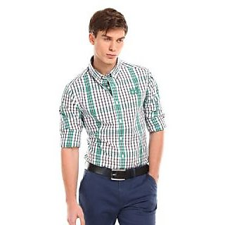 Swank Mens Formal Fit Shirt White With Sky Blue Checked