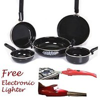 Hard Anodised Toro Cook Set Of 5 Cookware Pcs (Induction Base) & Lighter