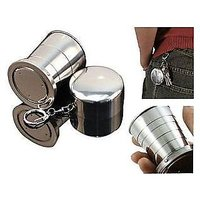 STEEL FOLDING GLASS KEY CHAIN FOLDABLE GLASS MAGIC GLASS MAGIC CUP MAGIC GLASS