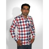 Haazir Blue And Red Broad Check Shirt - Full Sleeves - Blur-bg-5